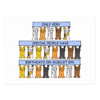 Cartão Postal 8 de agosto gatos do aniversário