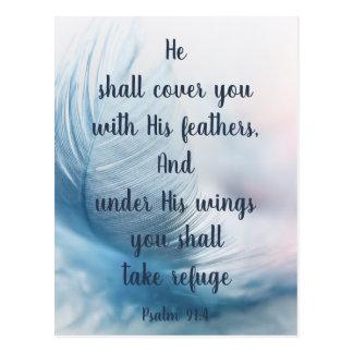 Cartão Postal 91:4 Uplifting inspirado do salmo sob suas asas
