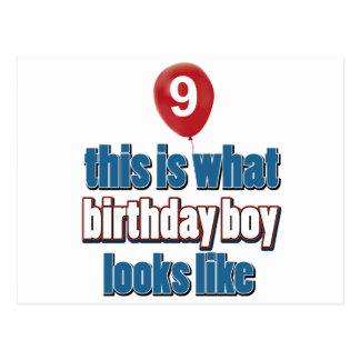 Cartão Postal 9o design do aniversário dos anos de idade