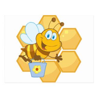 Cartão Postal A abelha de sorriso guardara um balde