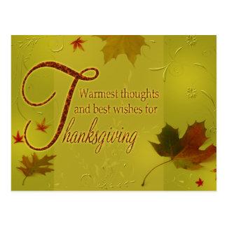Cartão Postal A acção de graças deseja as folhas da tipografia -