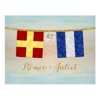 Cartão Postal A aguarela acopla bandeiras de sinal marítimas do