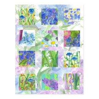 Cartão Postal A aguarela azul floresce a margarida do Lilac da