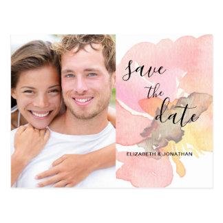 Cartão Postal A aguarela cora economias cor-de-rosa da foto a