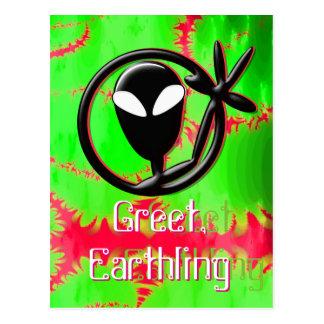 Cartão Postal A alienígena cumprimenta o Fractal do Earthling