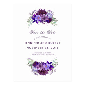 Cartão Postal A ameixa e a grinalda roxa violeta salvar a data