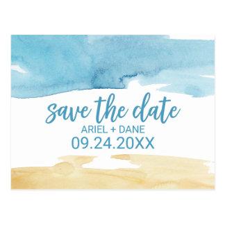 Cartão Postal A areia e o mar da aguarela salvar a data