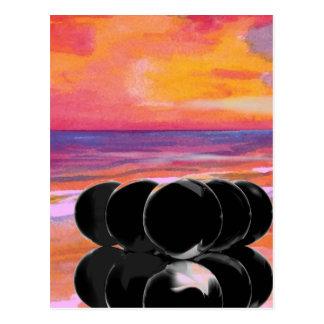 Cartão Postal A arte surreal carda a praia dos bilhar