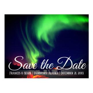 Cartão Postal A aurora boreal do Alasca salvar a data