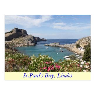 Cartão Postal A baía de St Paul, Lindos