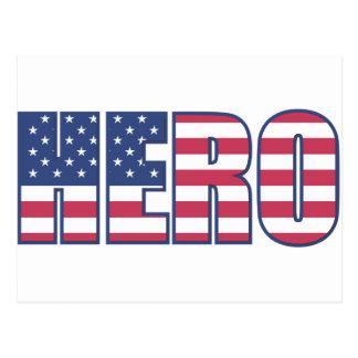 Cartão Postal A bandeira americana do herói Stars o azul branco