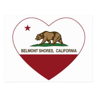 Cartão Postal a bandeira belmont de Califórnia suporta o coração