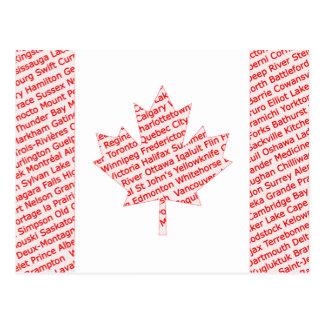 Cartão Postal A bandeira canadense com cidade e cidade nomeia o