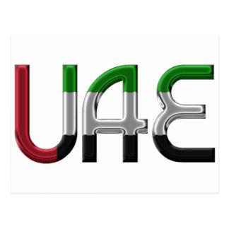 Cartão Postal A bandeira dos UAE United Arab Emirates colore a