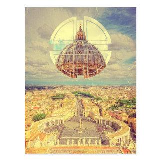 Cartão Postal A basílica quadrada Italia de St Peter geométrico