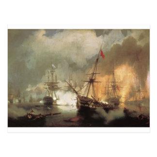 Cartão Postal A batalha de Navarino por Ivan Aivazovsky