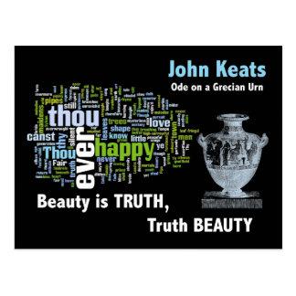 Cartão Postal A beleza é verdade - John Keats - urna Grecian