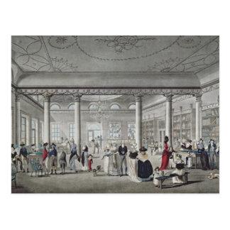 Cartão Postal A biblioteca de Salão em Margate, 1789