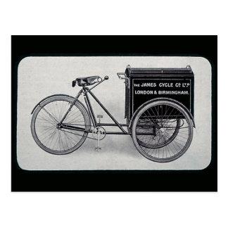 Cartão Postal A bicicleta famosa da entrega do vintage de James