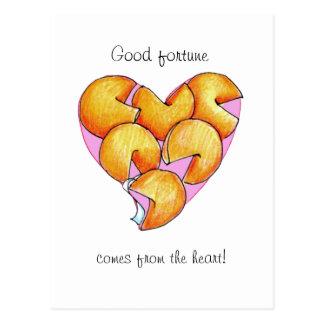 Cartão Postal A boa fortuna vem do coração
