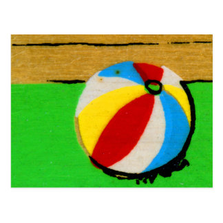 Cartão Postal A bola de praia retro do vintage caçoa a