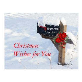 Cartão Postal A caixa postal do Natal com Poinsétias
