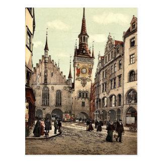 Cartão Postal A câmara municipal velha, Munich, Baviera,