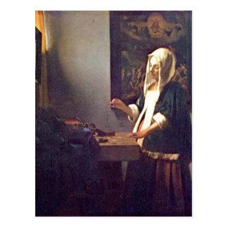 Cartão Postal A camionete Delft de Vermeer, janeiro morre