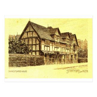 Cartão Postal A casa Stratford de Shakespeare em Avon