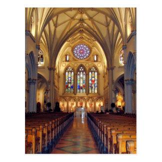 Cartão Postal A catedral de St Joseph - corredor principal/parte