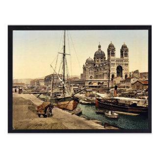 Cartão Postal A catedral, vintage Photochr de Marselha, France