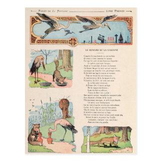 Cartão Postal A cegonha e o Fox das fábulas