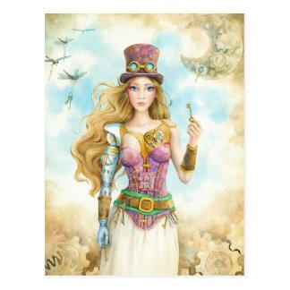 """Cartão Postal """"A chave"""", menina de Steampunk"""