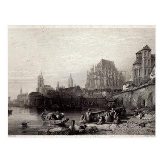 Cartão Postal A cidade da água de Colônia, gravada por M.J.