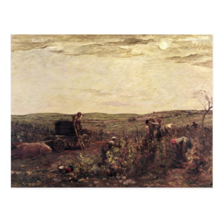 Cartão Postal A colheita do vinho em Borgonha, 1863