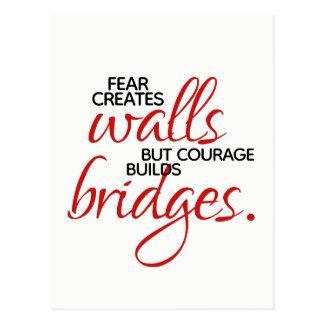 Cartão Postal A coragem inspirada das palavras constrói pontes