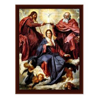 Cartão Postal A coroação de Mary por Diego Velázquez