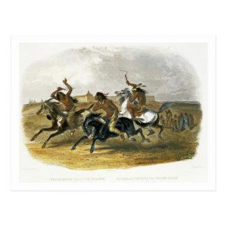 Cartão Postal A corrida de cavalos de indianos de Sioux aproxima