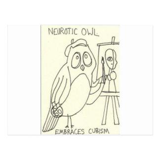 Cartão Postal A coruja neurótico abraça o Cubism