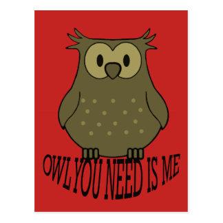 Cartão Postal a coruja que você precisa é mim
