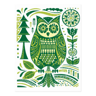 Cartão Postal A coruja verde