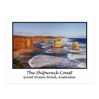Cartão Postal A costa do Shipwreck, grande estrada do oceano,