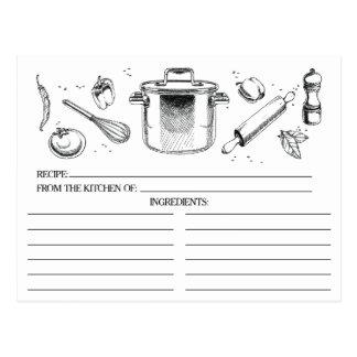 Cartão Postal A cozinha esboçada branca preta utiliza