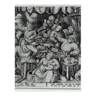 Cartão Postal A cozinha gorda por Pieter Bruegel a pessoa idosa