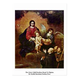 Cartão Postal A criança do cristo distribui o pão aos peregrinos