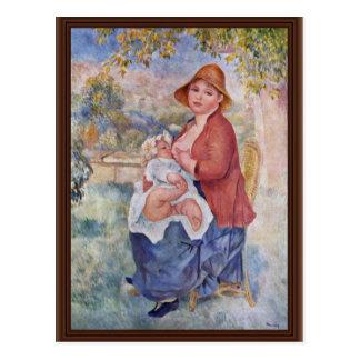 Cartão Postal A criança no peito (maternidade),