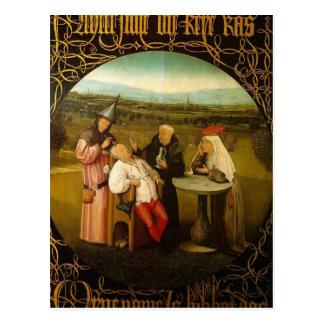 Cartão Postal A cura do insensatez por Hieronymus Bosch