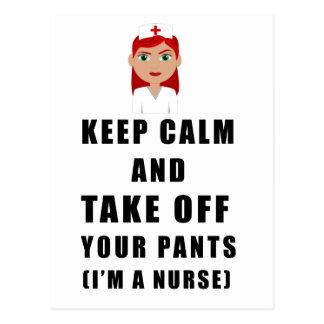 Cartão Postal a enfermeira, descola suas calças