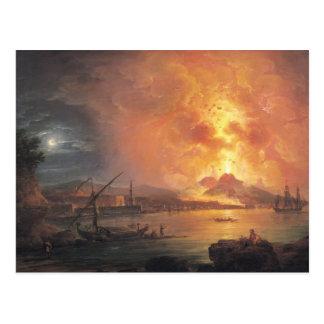 Cartão Postal A erupção do Vesúvio