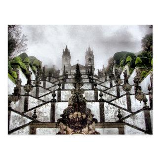 Cartão Postal A escadaria barroco de Bom Jesus em Braga